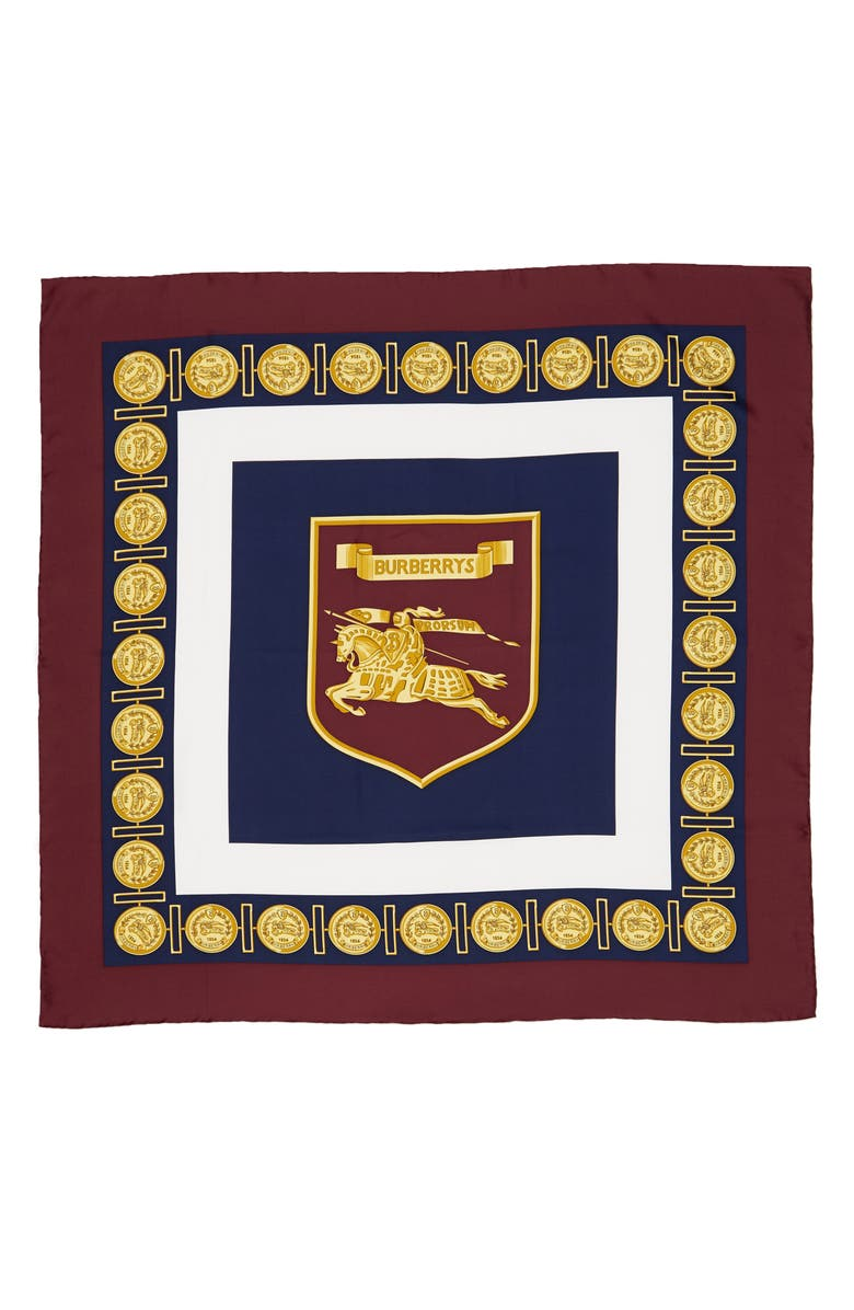 BURBERRY Archive Print Square Silk Scarf, Main, color, BURGUNDY