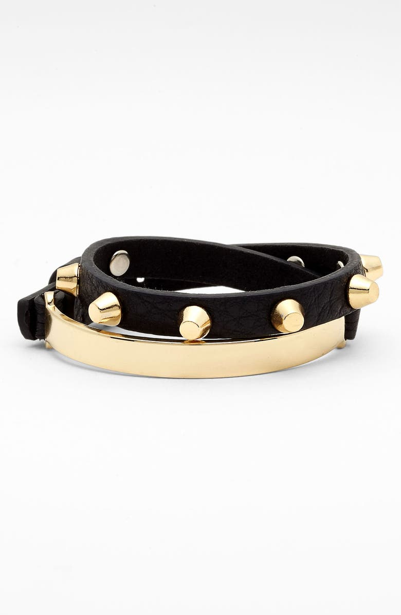 CARA Leather Wrap Bracelet, Main, color, 001