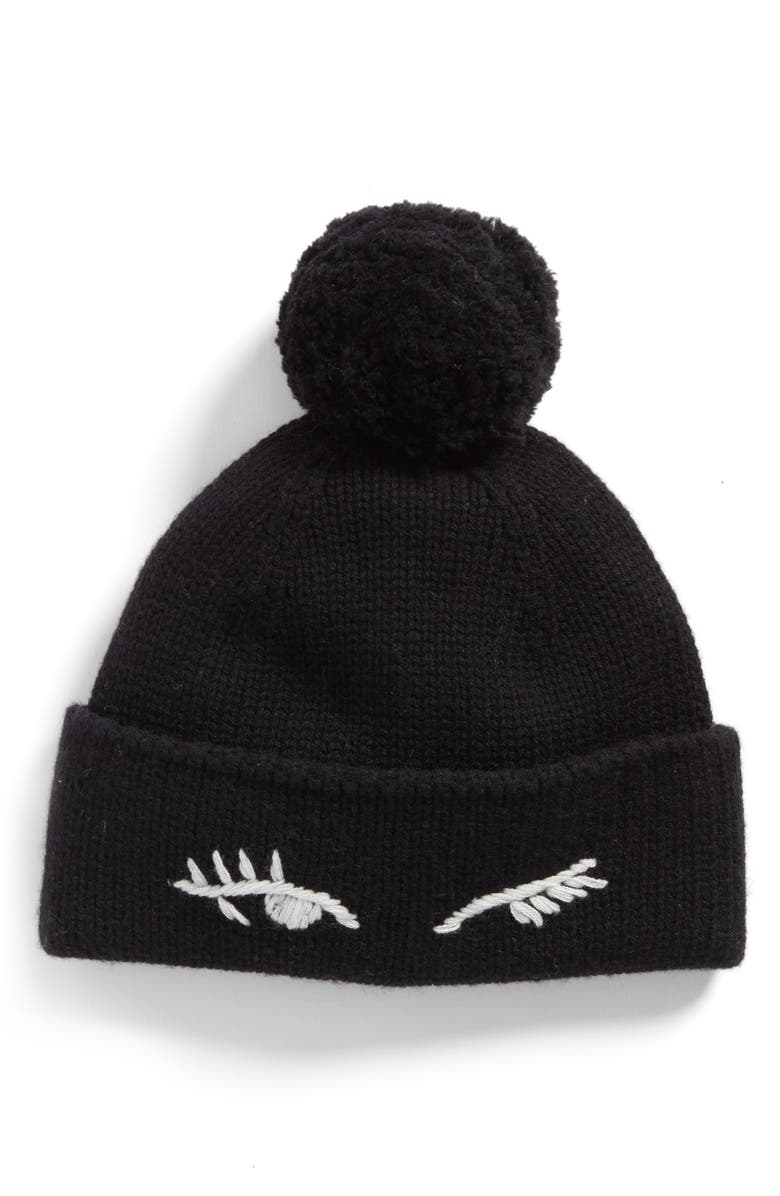 KATE SPADE NEW YORK winking beanie with pom, Main, color, 001