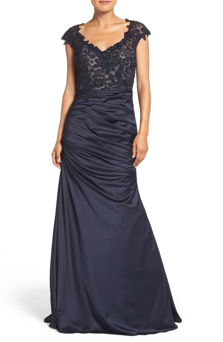 LA FEMME Embellished Lace & Satin Mermaid Gown, Main, color, NAVY