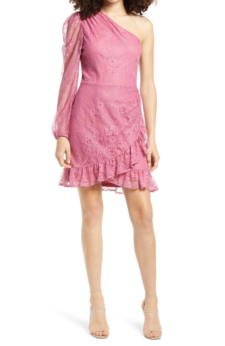 WAYF x BFF Jess One-Shoulder Lace Minidress, Main, color, PINK LACE