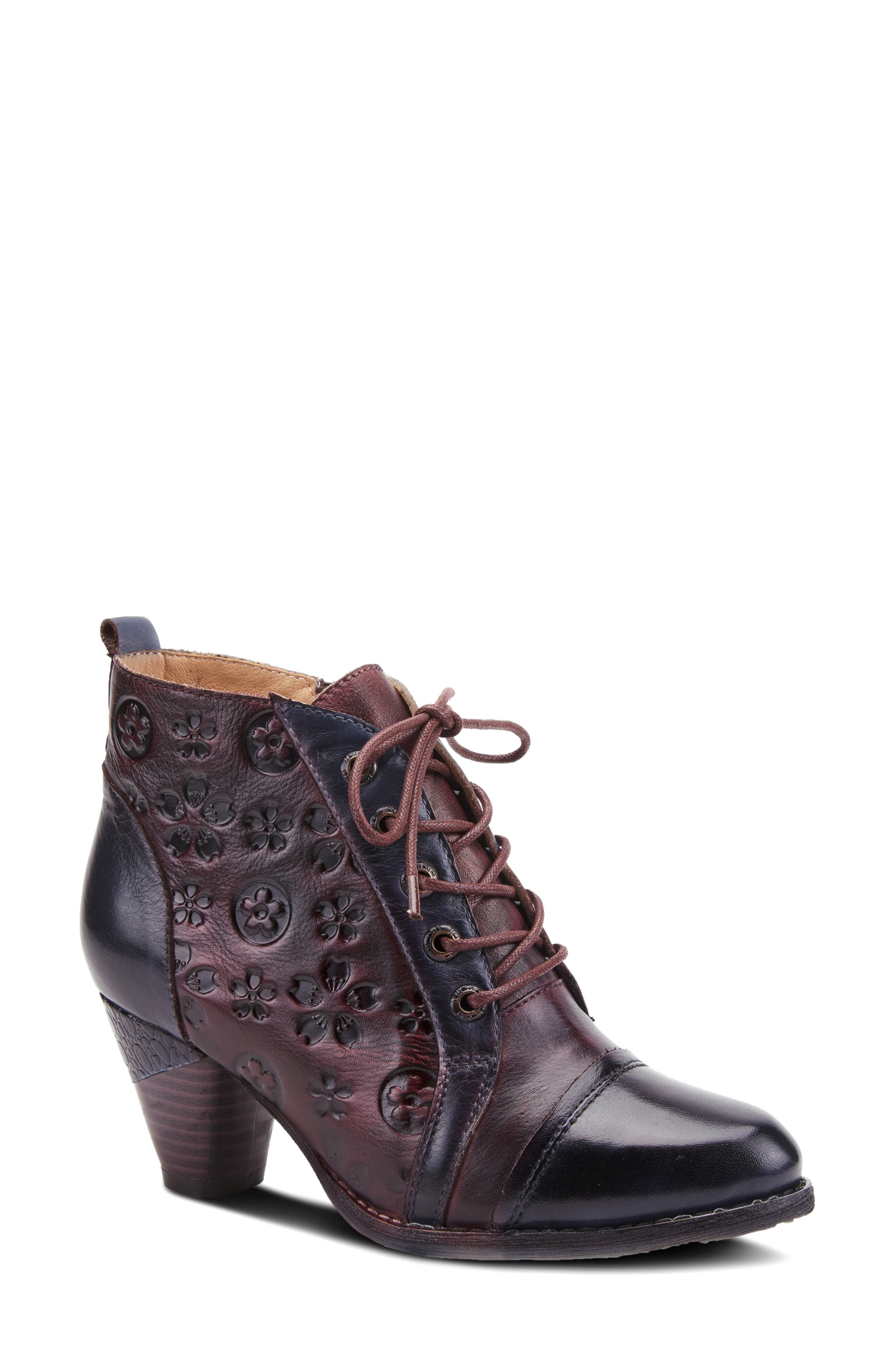 Flower-tooled leather with hand-painted accents defines this vintage-inspired bootie outfitted with a comfortably cushioned footbed. Style Name:L\\\'Artiste Lewi Lace-Up Bootie (Women). Style Number: 6117401. Available in stores.