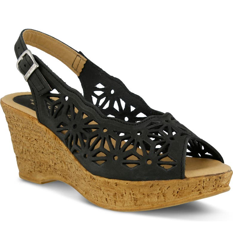 SPRING STEP Abigail Platform Wedge Sandal, Main, color, BLACK LEATHER