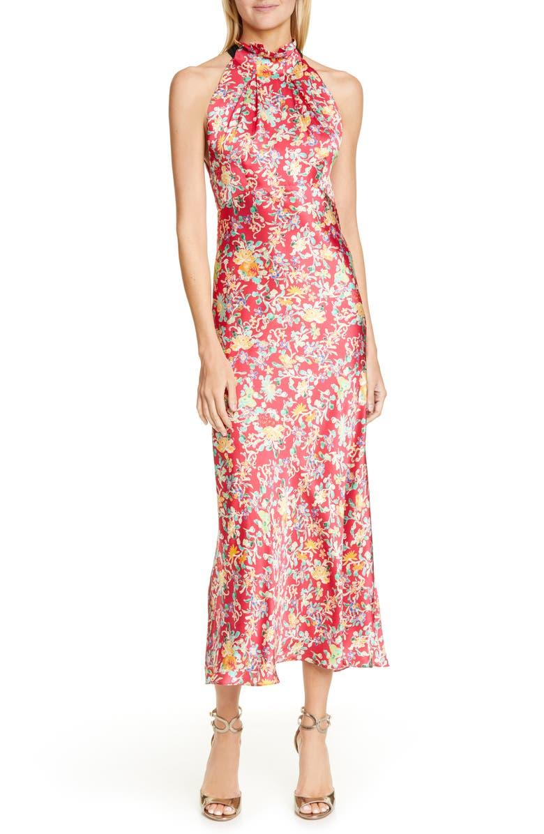 SALONI Michelle Silk Midi Dress, Main, color, ROUGE ORNAMENTAL/ BLACK