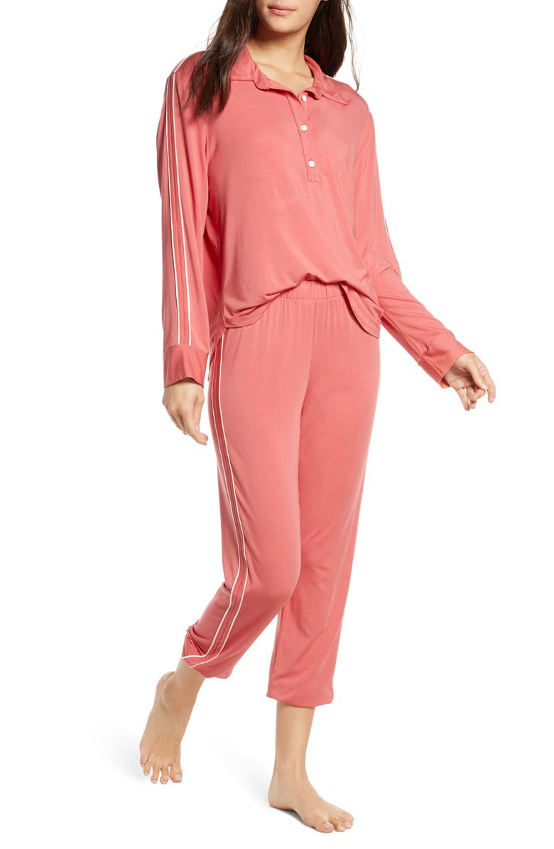 EBERJEY Gisele The Sporty Pajamas, Main, color, MINERAL RED/ IVORY