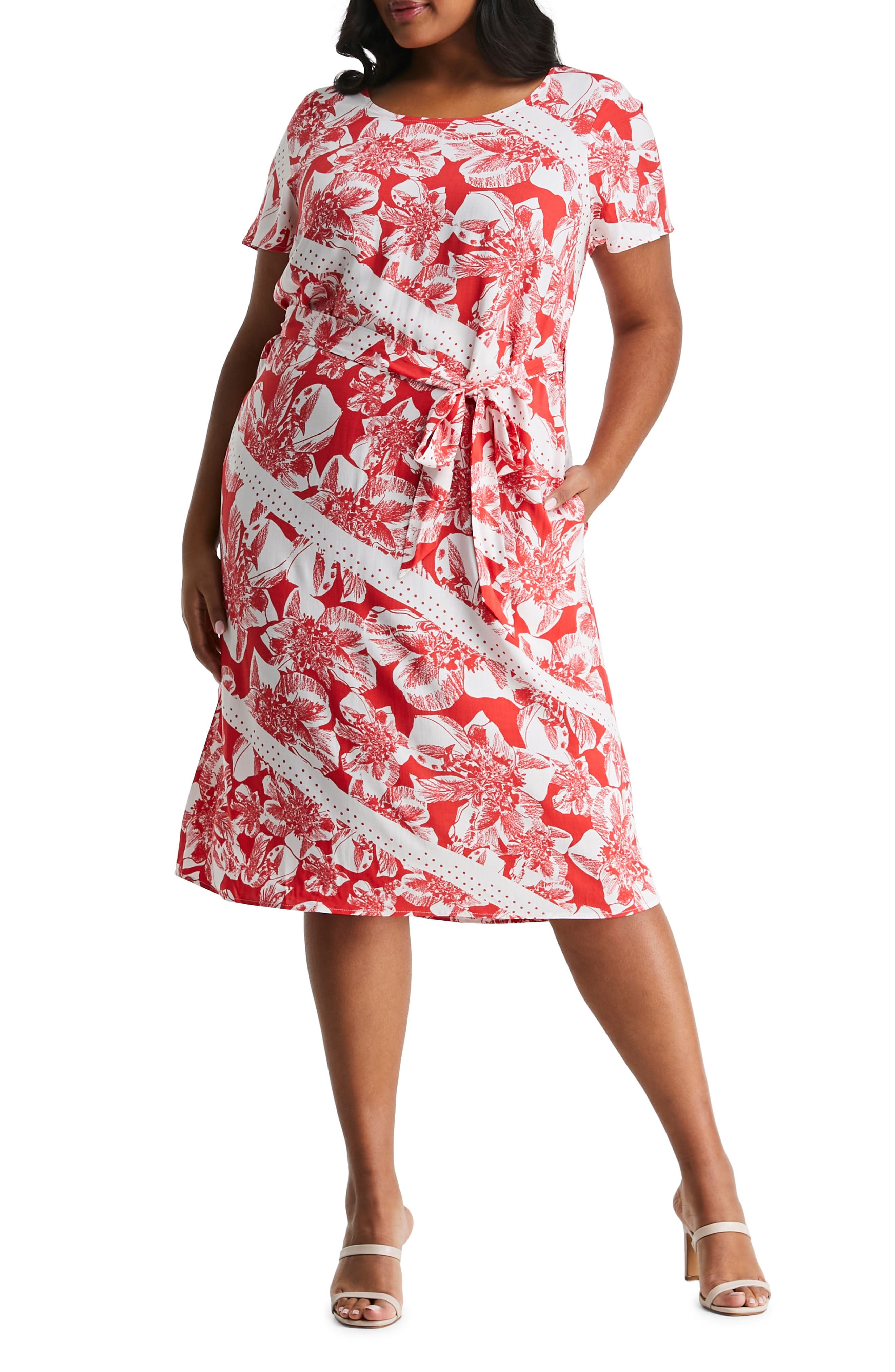 Amazonian Lily Belted A-Line Dress