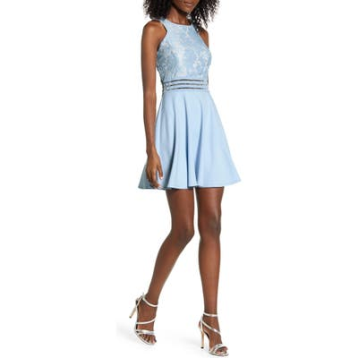 Speechless Lace Bodice Sleeveless Skater Dress, Blue