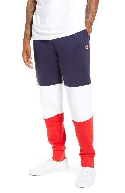 Fila France Colorblock Sweatpants In Peach/ White/ Red