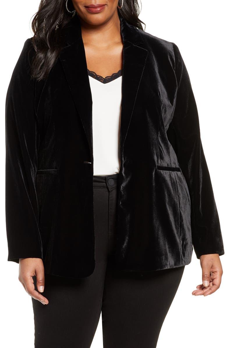 HALOGEN<SUP>®</SUP> Velvet Blazer, Main, color, BLACK