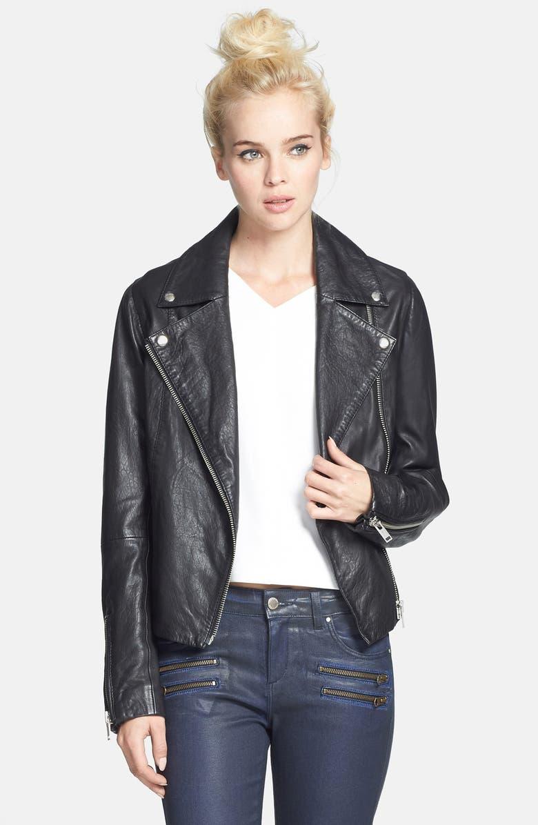 TOPSHOP 'Birthday' Leather Biker Jacket, Main, color, 001