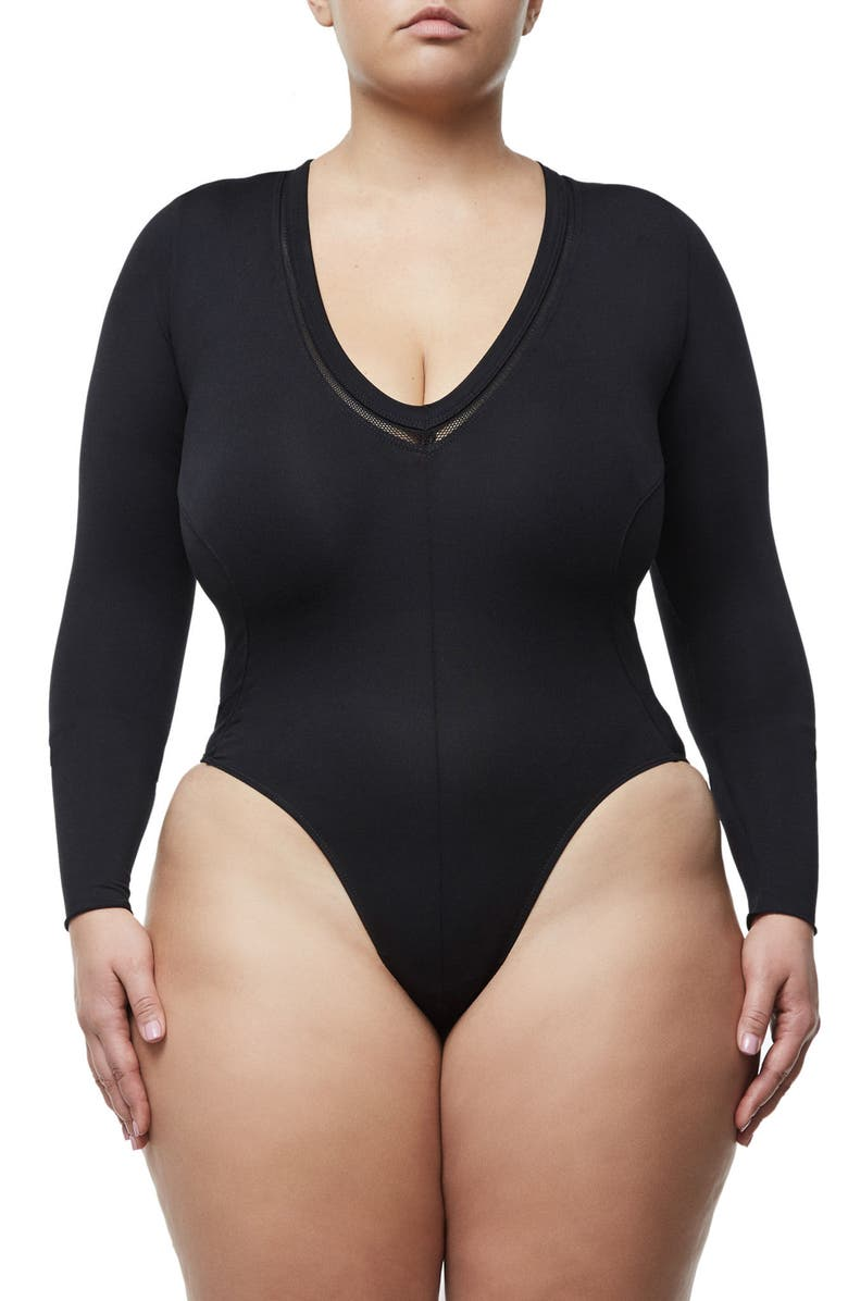 GOOD AMERICAN Good Body Low Down Bodysuit, Main, color, BLACK
