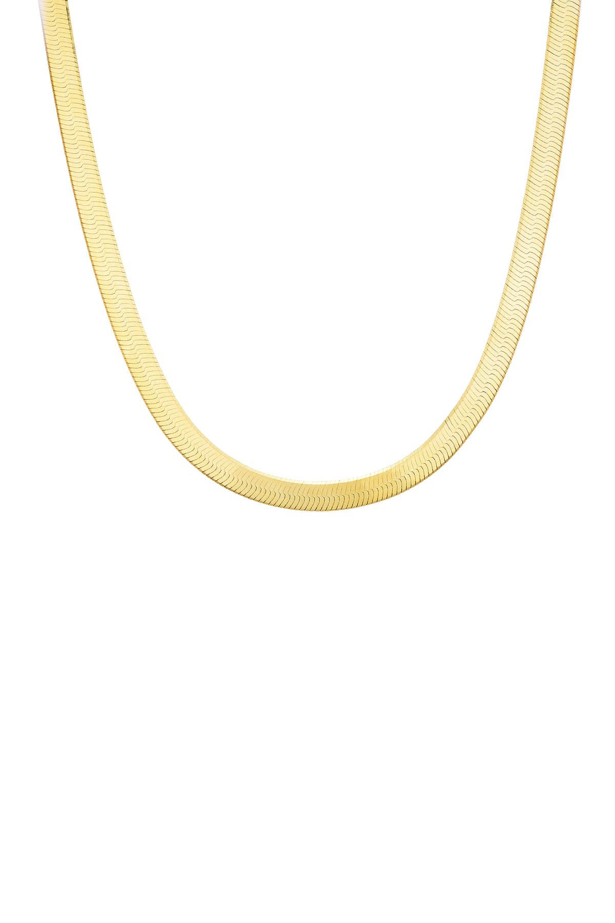 Image of Sphera Milano 14K Yellow Gold Plated Sterling Silver Herringbone Snake Chain Necklace