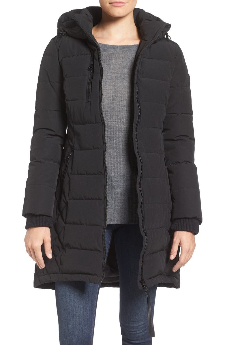 GUESS Quilted Hooded Puffer Coat, Main, color, 001