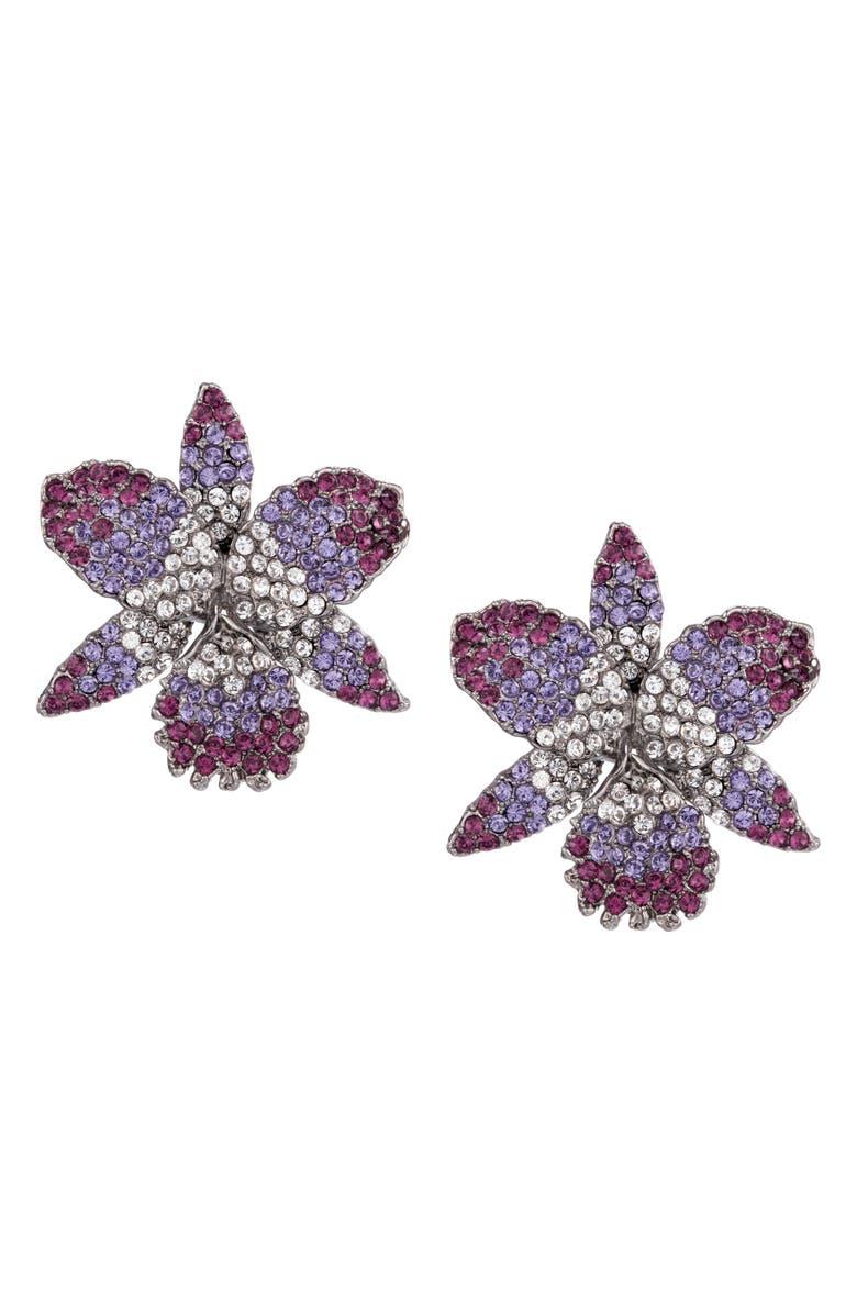 NINA Swarovski Crystal Earrings, Main, color, AMETHYST/ TANZANITE/ WHITE