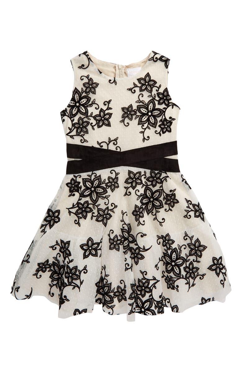 BCBG GIRLS BCBG Swiss Dot Floral Flocked Fit & Flare Dress, Main, color, IVORY