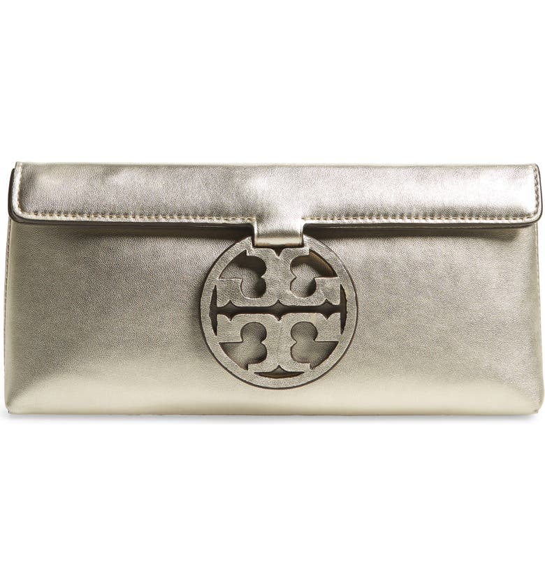 TORY BURCH Miller Metallic Leather Clutch, Main, color, 710