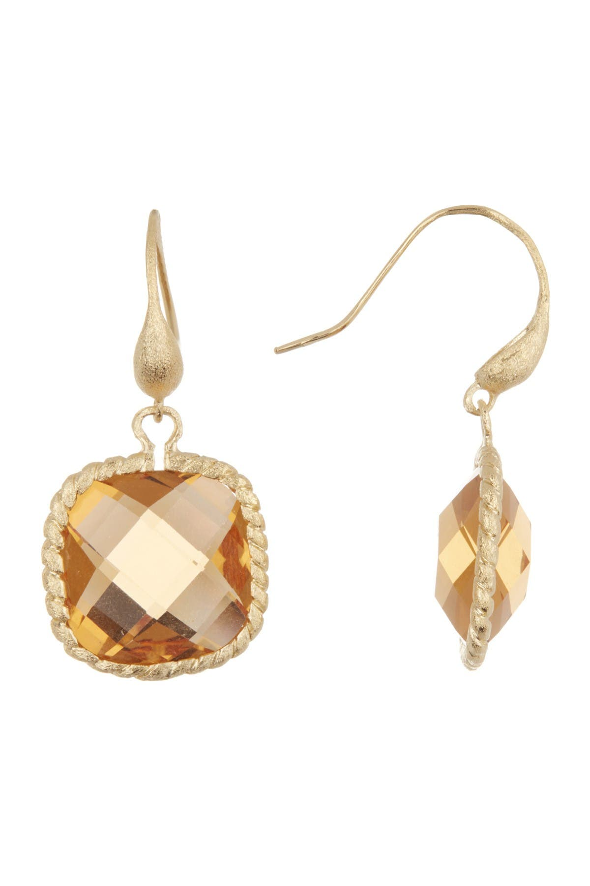 Image of Rivka Friedman 18K Gold Clad Twisted Cable Bezel Cushion Cut Faceted Citrine Crystal Drop Earrings