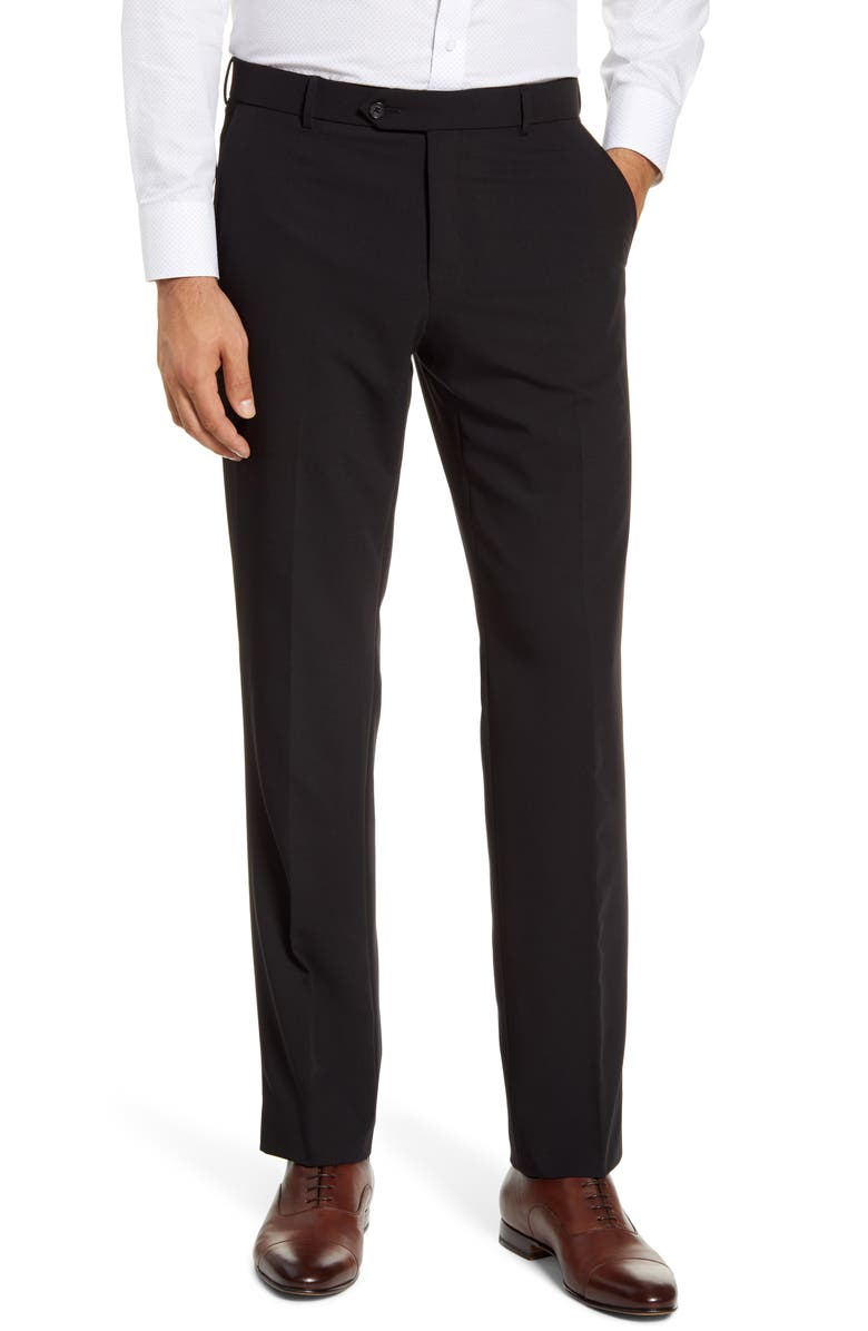 BALLIN Regular Fit Flat Front Dress Pants, Main, color, BLACK