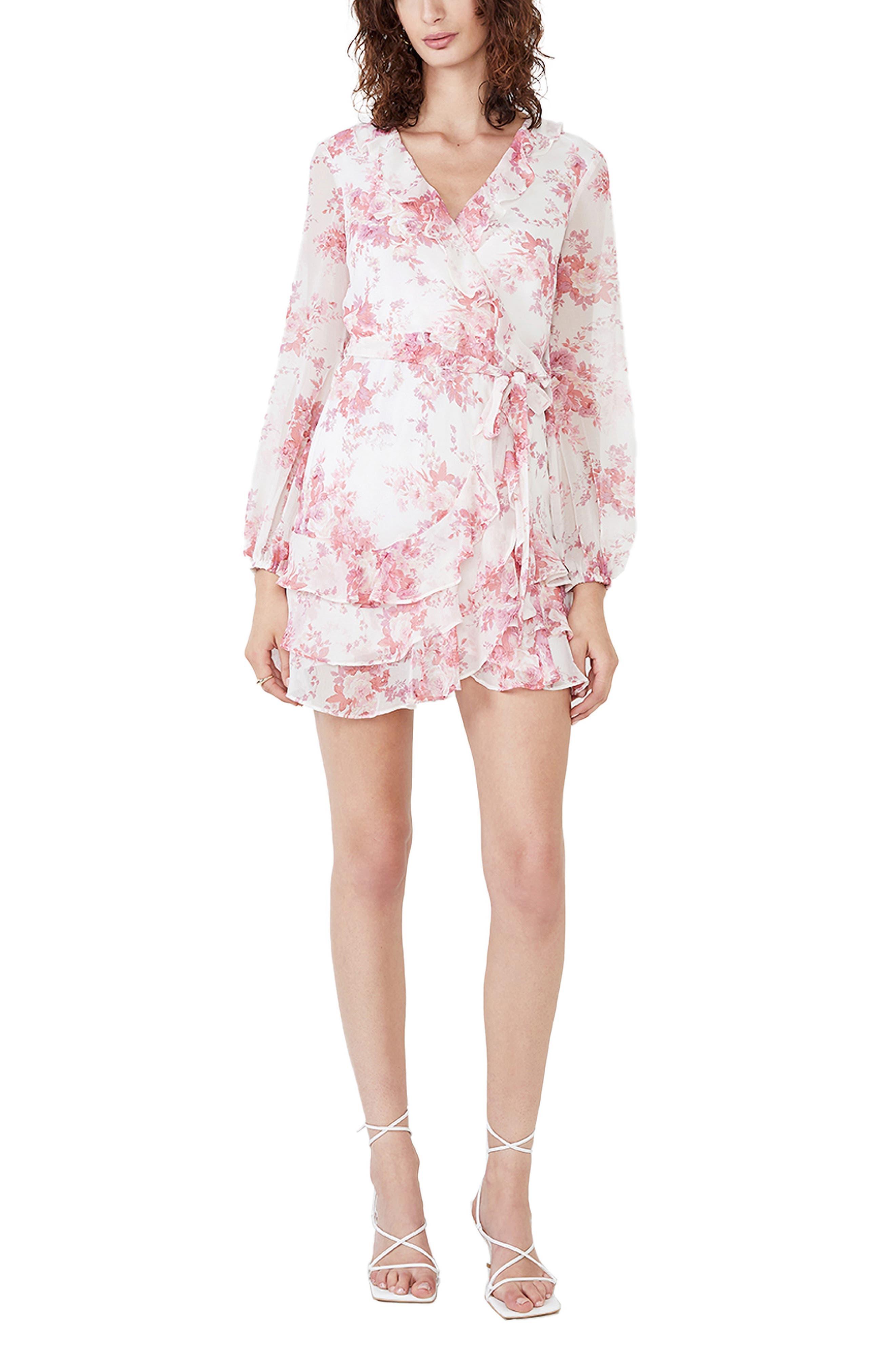 Triple Frill Floral Long Sleeve Faux Wrap Dress