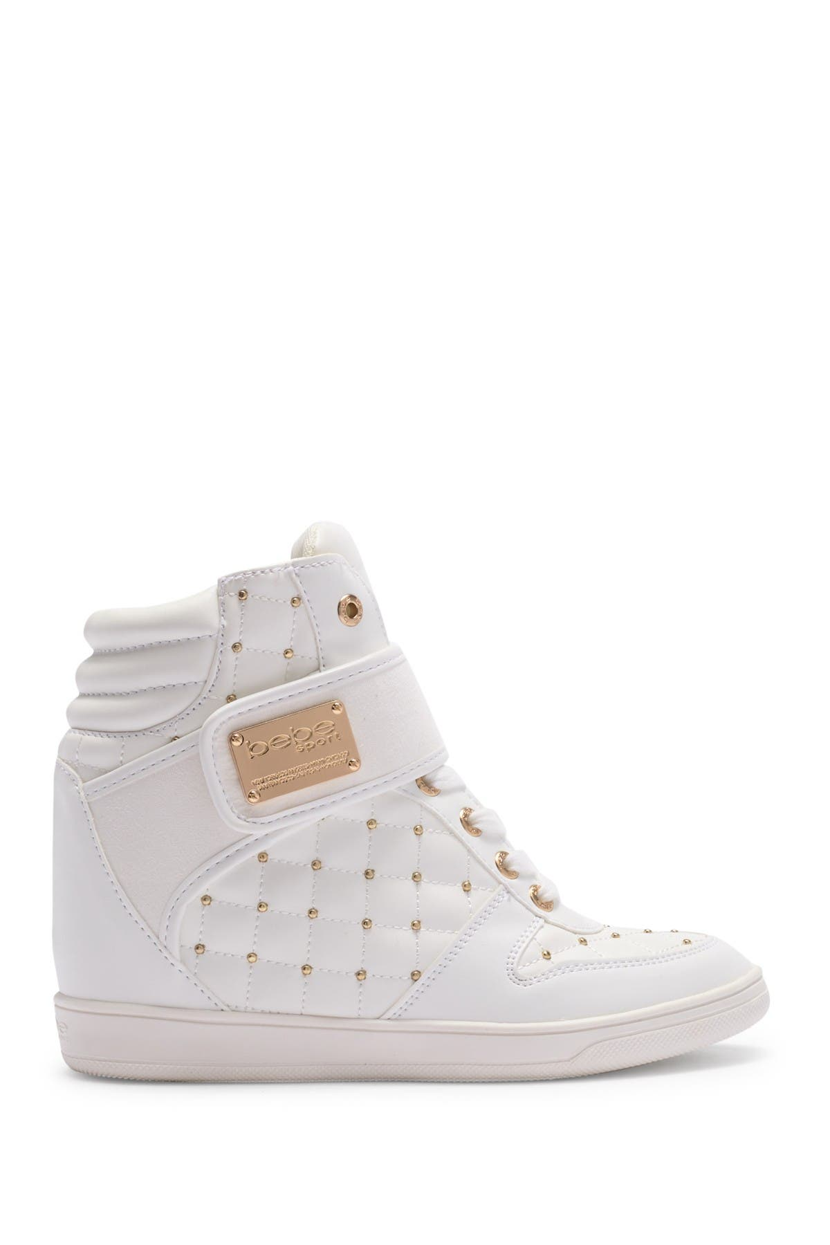 bebe | Studded High Top Wedge Sneaker