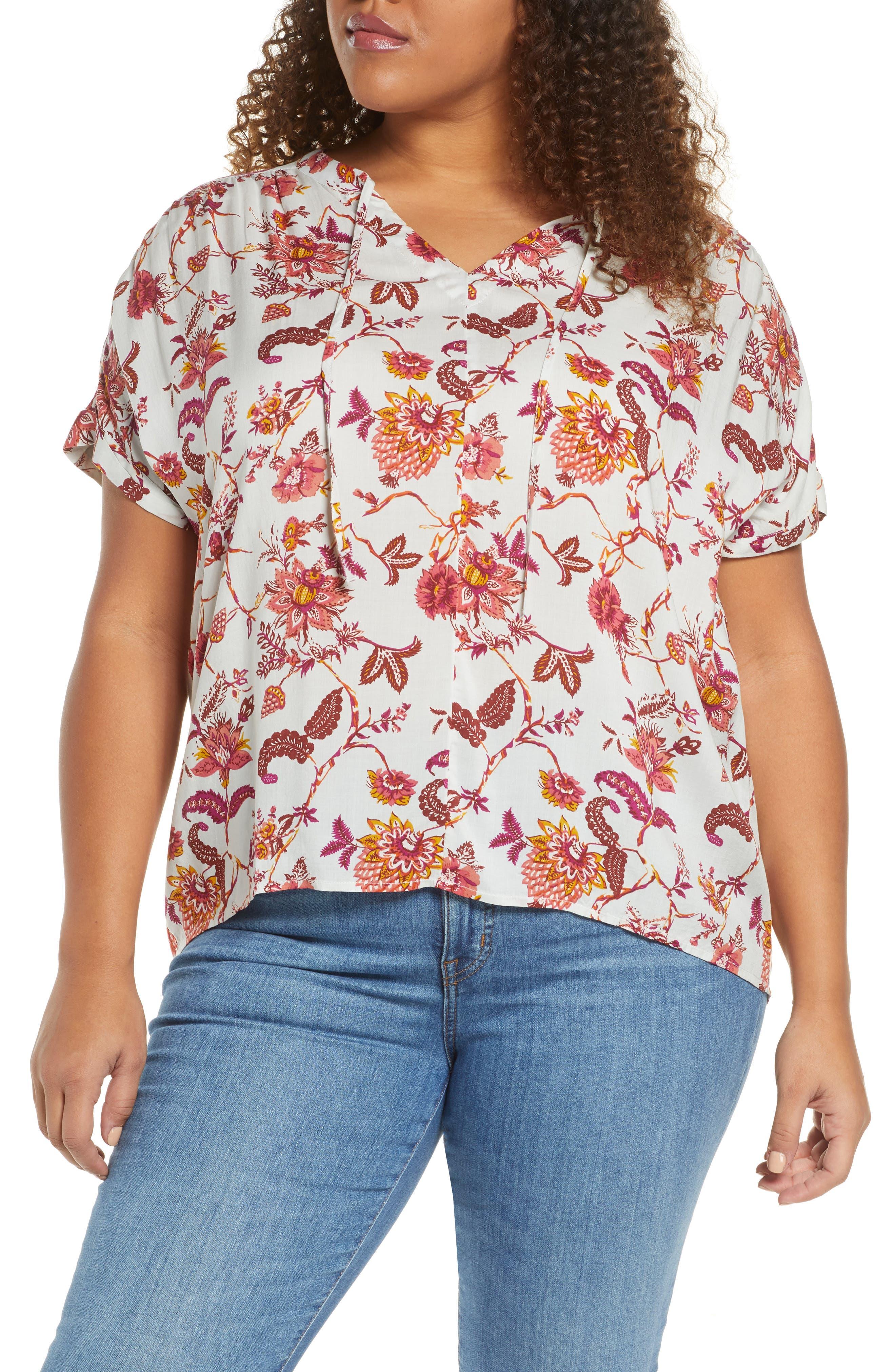 Caslon® Print Split Neck Blouse (Plus Size)   Nordstrom