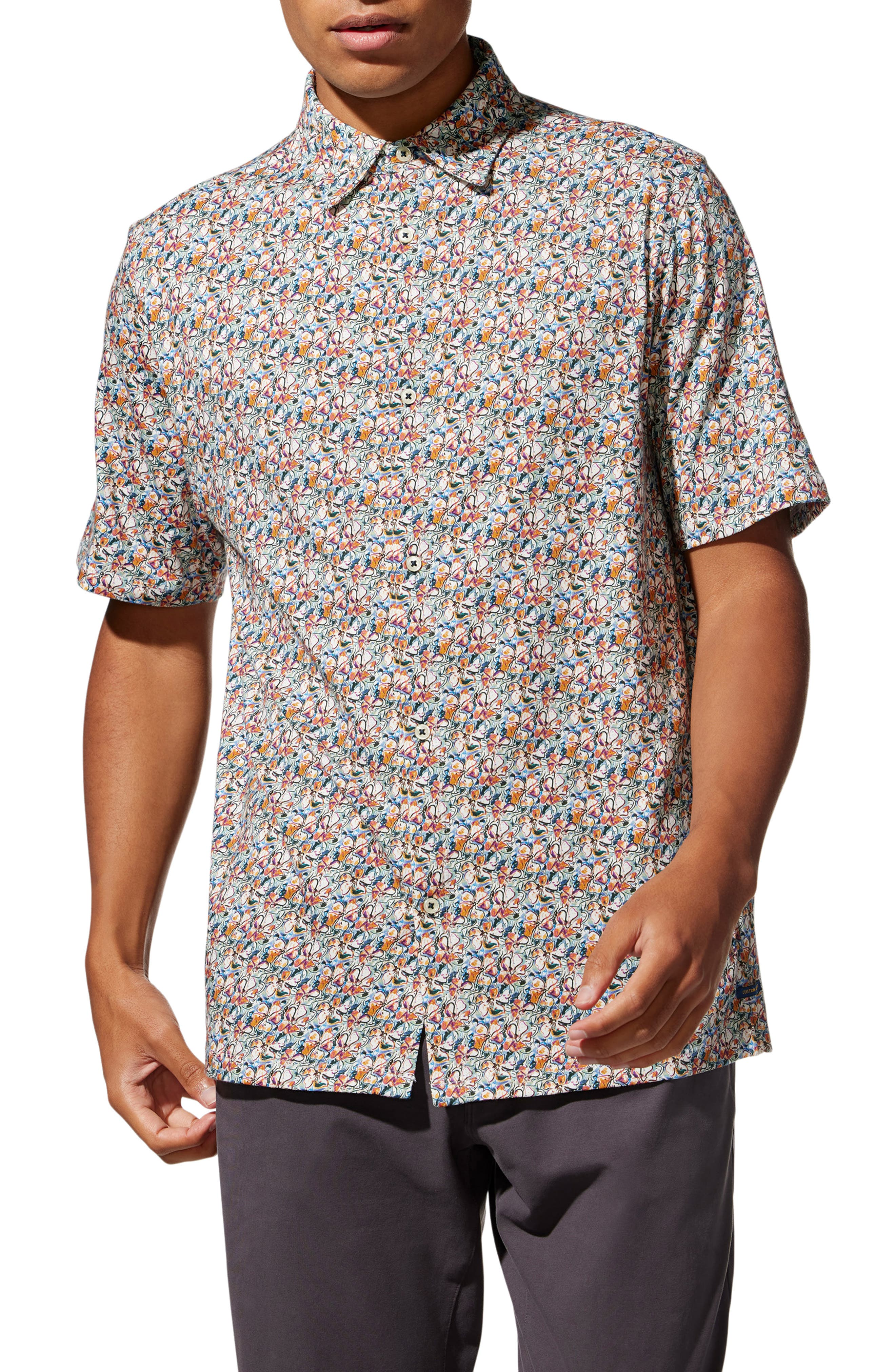 Big On-Point Slim Fit Floral Short Sleeve Stretch Button-Up Shirt