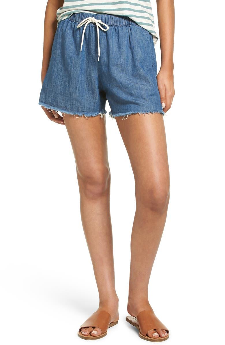 MADEWELL Raw Hem Denim Shorts, Main, color, 400
