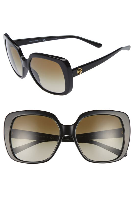 Tory Burch 57mm Gradient Sunglasses In Black