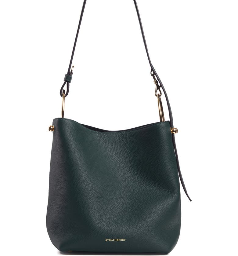 STRATHBERRY Midi Lana Leather Bucket Bag, Main, color, BOTTLE GREEN