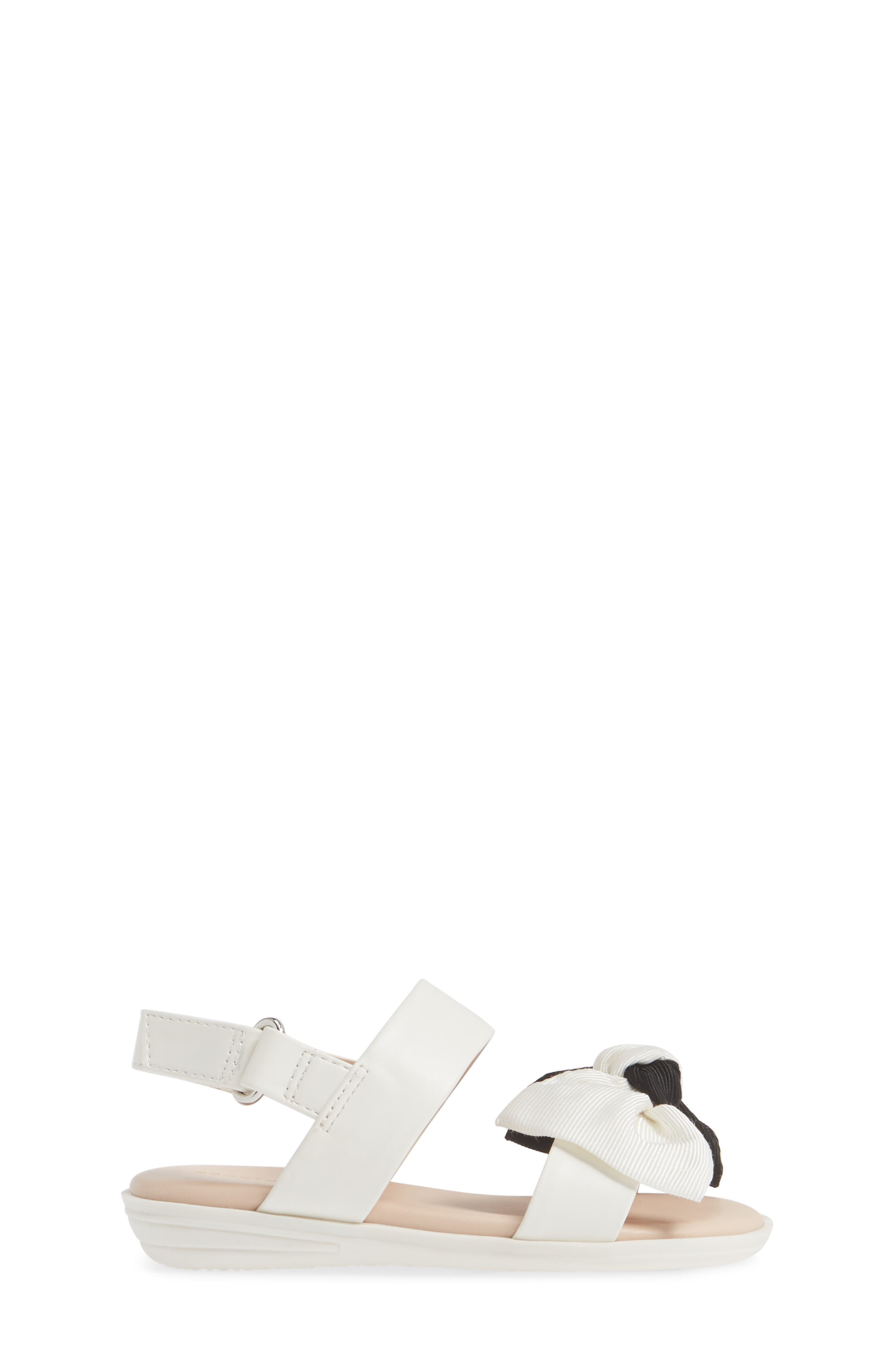 ,                             Chelsea Bow Sandal,                             Alternate thumbnail 3, color,                             WHITE/BLACK FAUX LEATHER