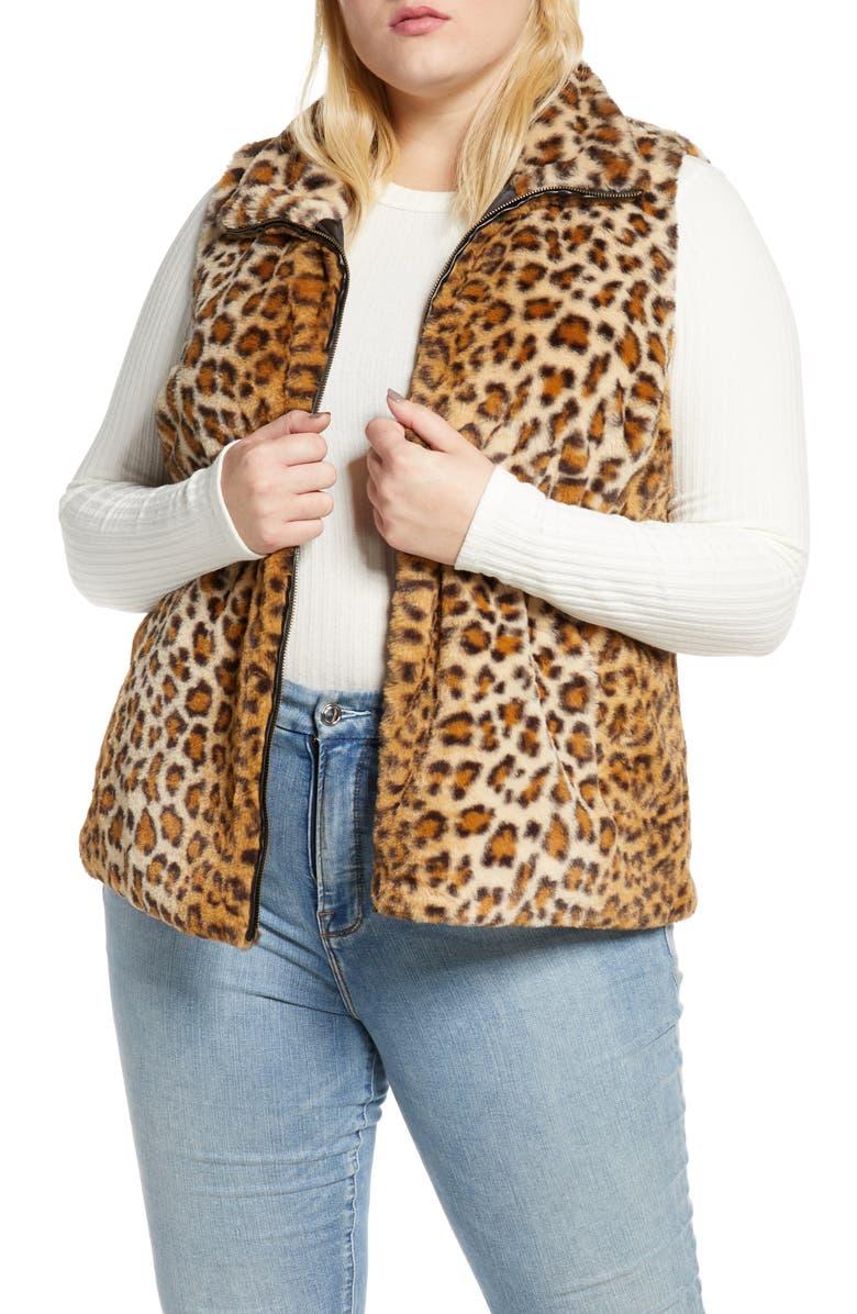SINGLE THREAD Leopard Faux Fur Vest, Main, color, CAMEL