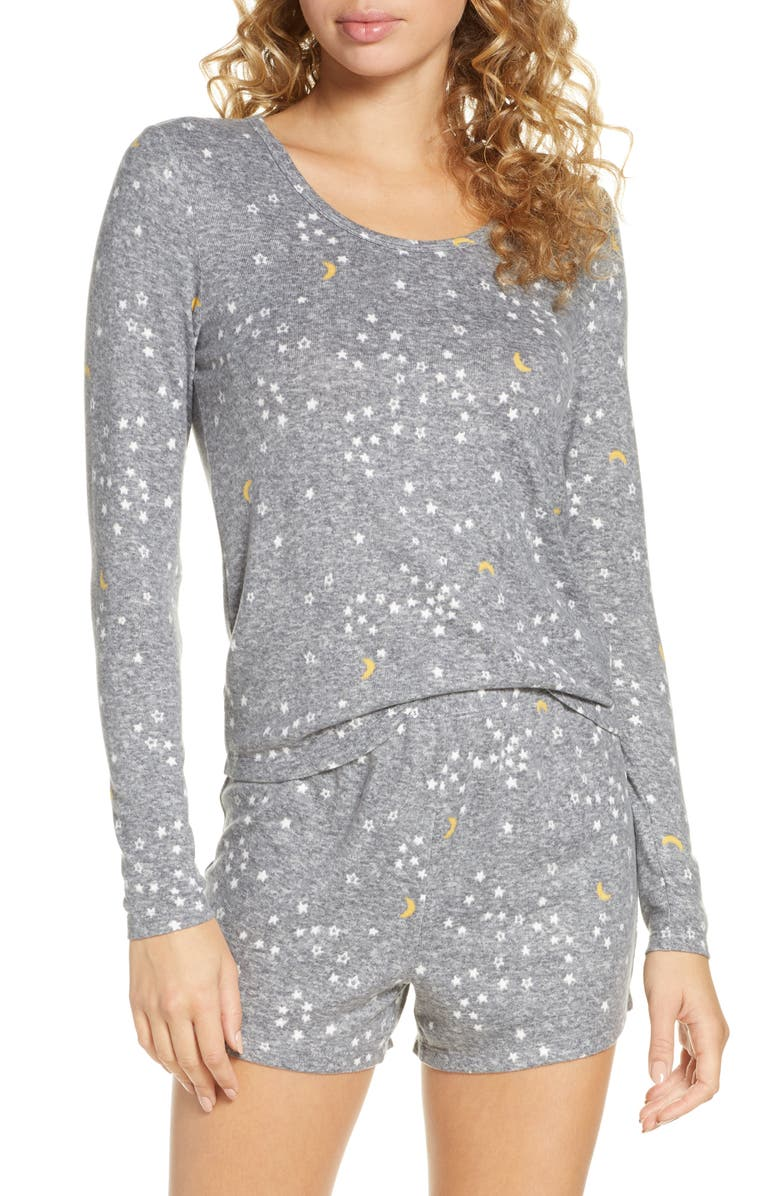 BP. Cuddle Me Short Pajamas, Main, color, DARK STEEL HEATHER STARS/MOON
