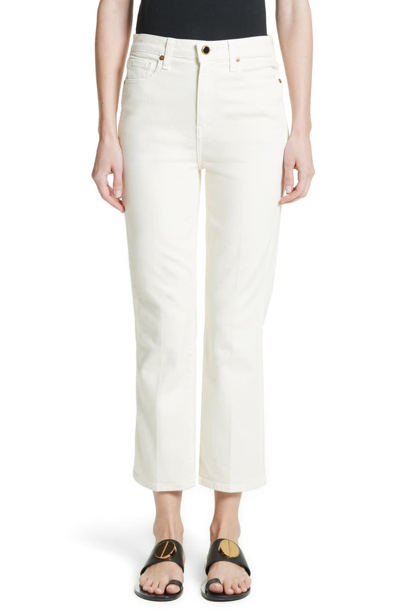 KHAITE Benny Crop Flare Jeans, Main, color, DENIM IVORY