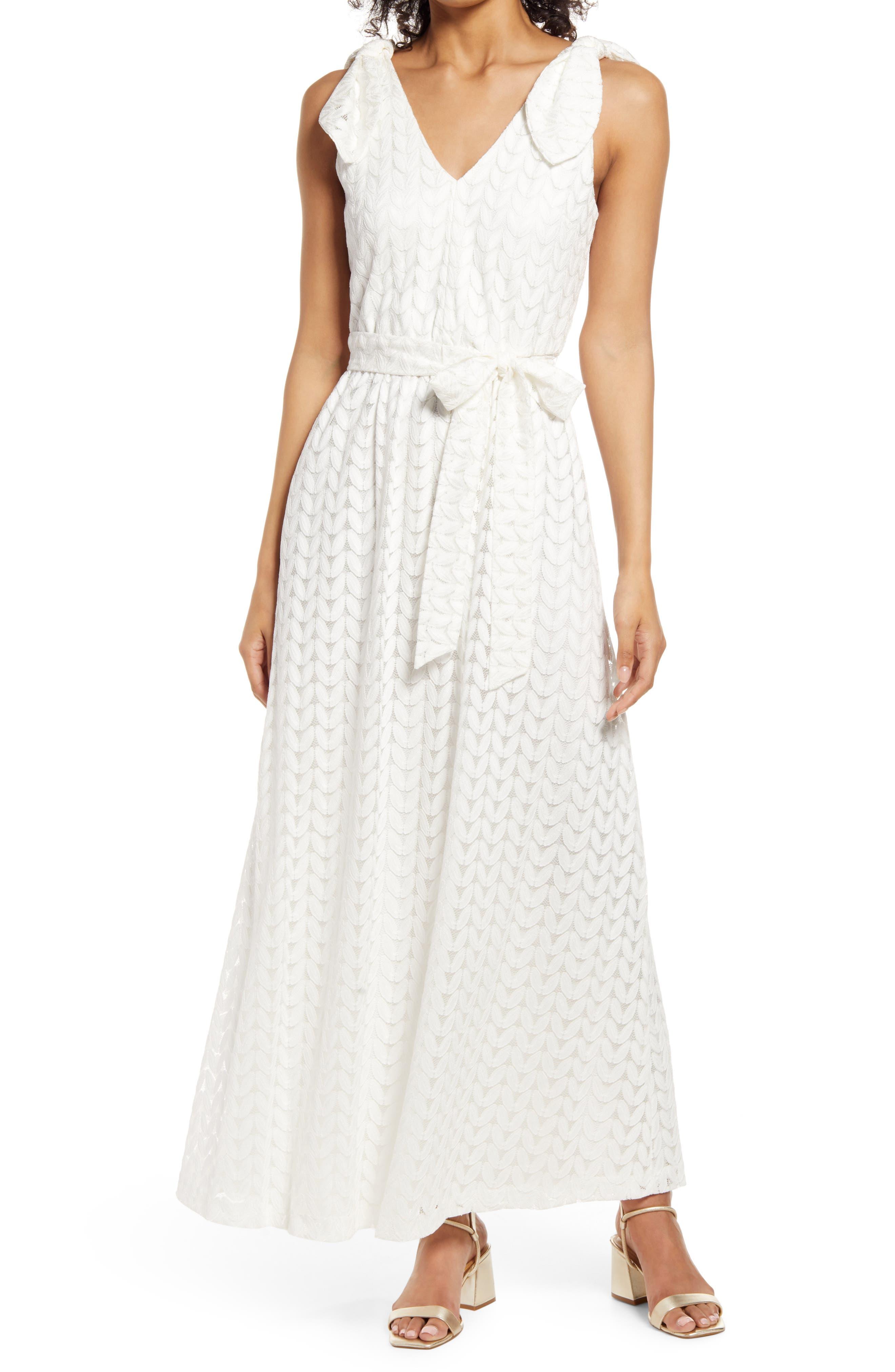 Bow Shoulder Belted Lace Dress