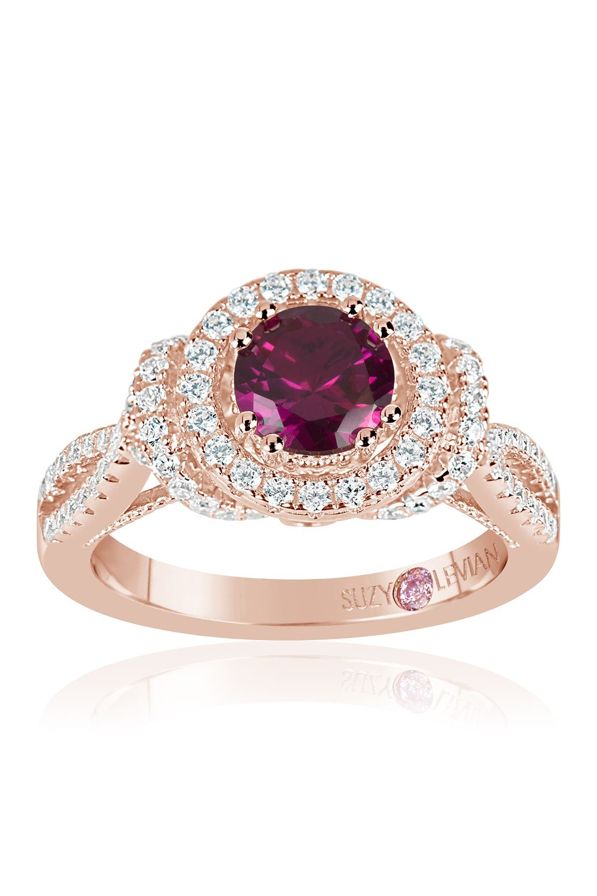 Image of Suzy Levian Rose Gold Plated Sterling Silver Lab Ruby CZ Ring