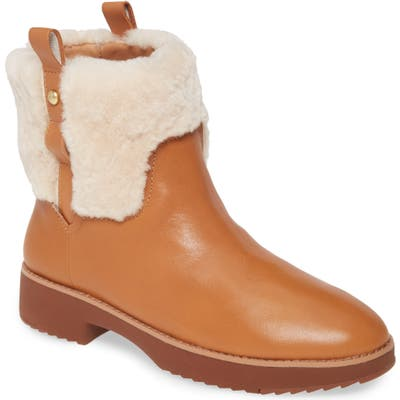 Fitflop Mimie Genuine Shearling Trim Bootie, Beige