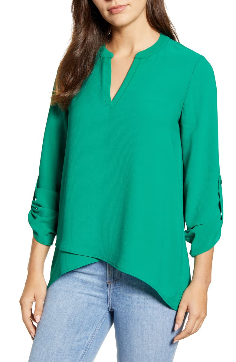 GIBSON x International Women's Day Erin Cross Front Tunic Blouse, Main, color, 346