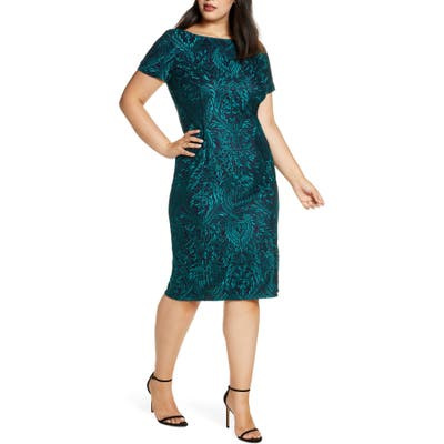 Plus Size Js Collections Floral Embroidered Cocktail Dress, Blue/green