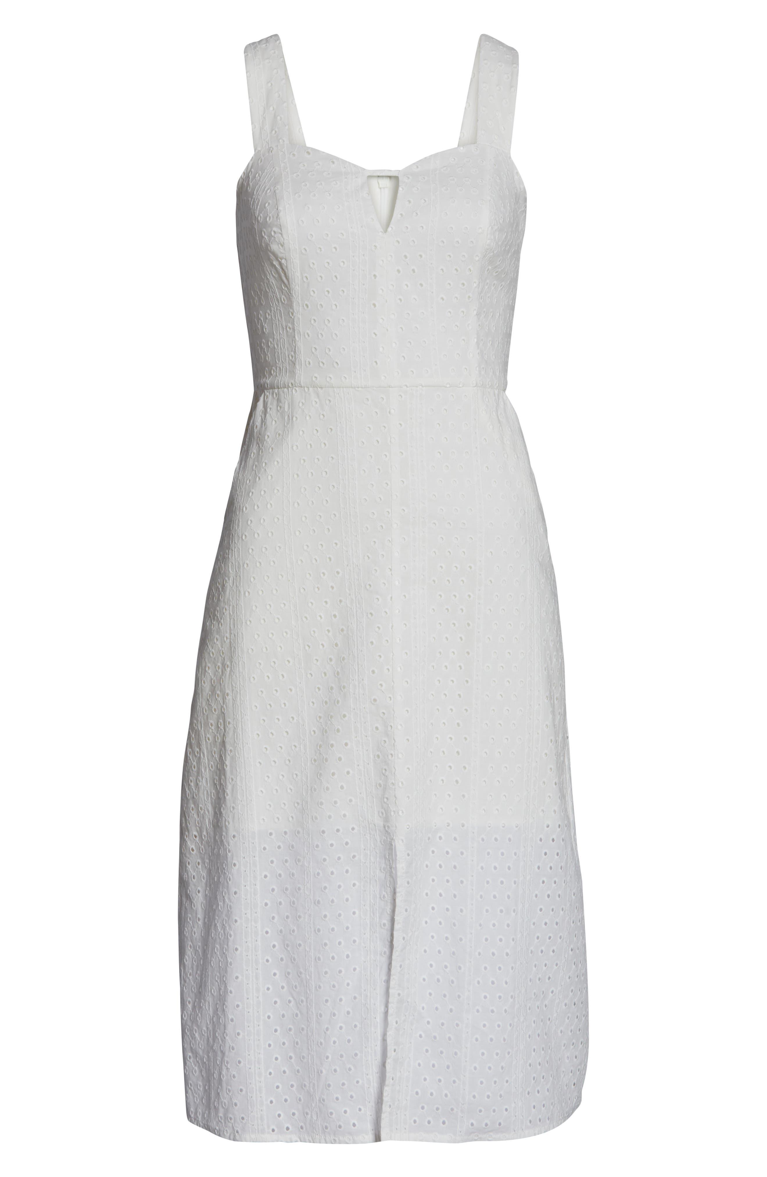 ,                             Look My Way Eyelet Midi Dress,                             Alternate thumbnail 7, color,                             WHITE