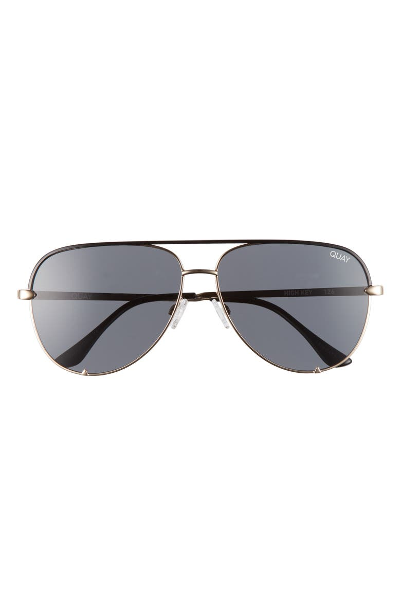 QUAY AUSTRALIA High Key 62mm Oversize Aviator Sunglasses, Main, color, BLACK GOLD/ SMOKE