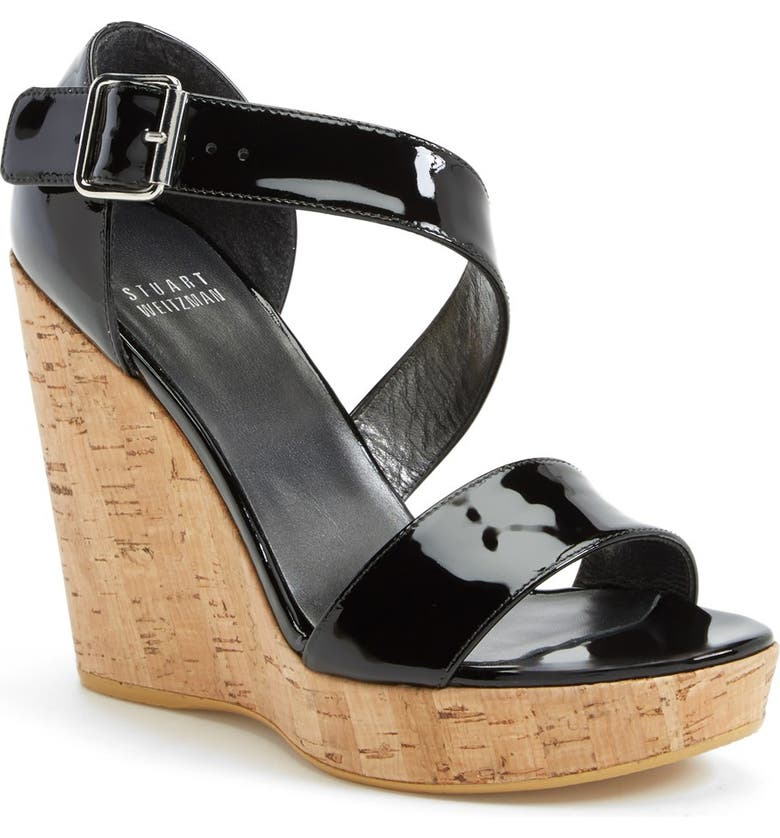 STUART WEITZMAN 'Oneliner' Patent Leather Wedge Sandal, Main, color, 001