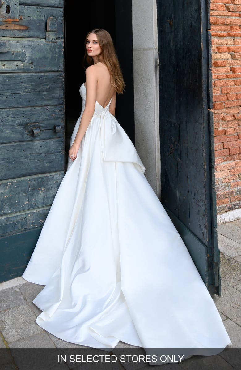 BLISS MONIQUE LHUILLIER Strapless Ballgown Wedding Dress, Main, color, SILK WHITE