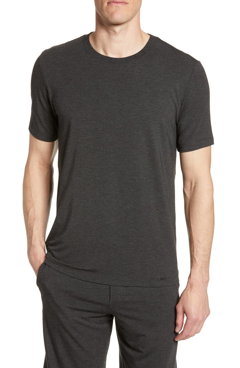HANRO Casuals Crewneck T-Shirt, Main, color, CAVIAR