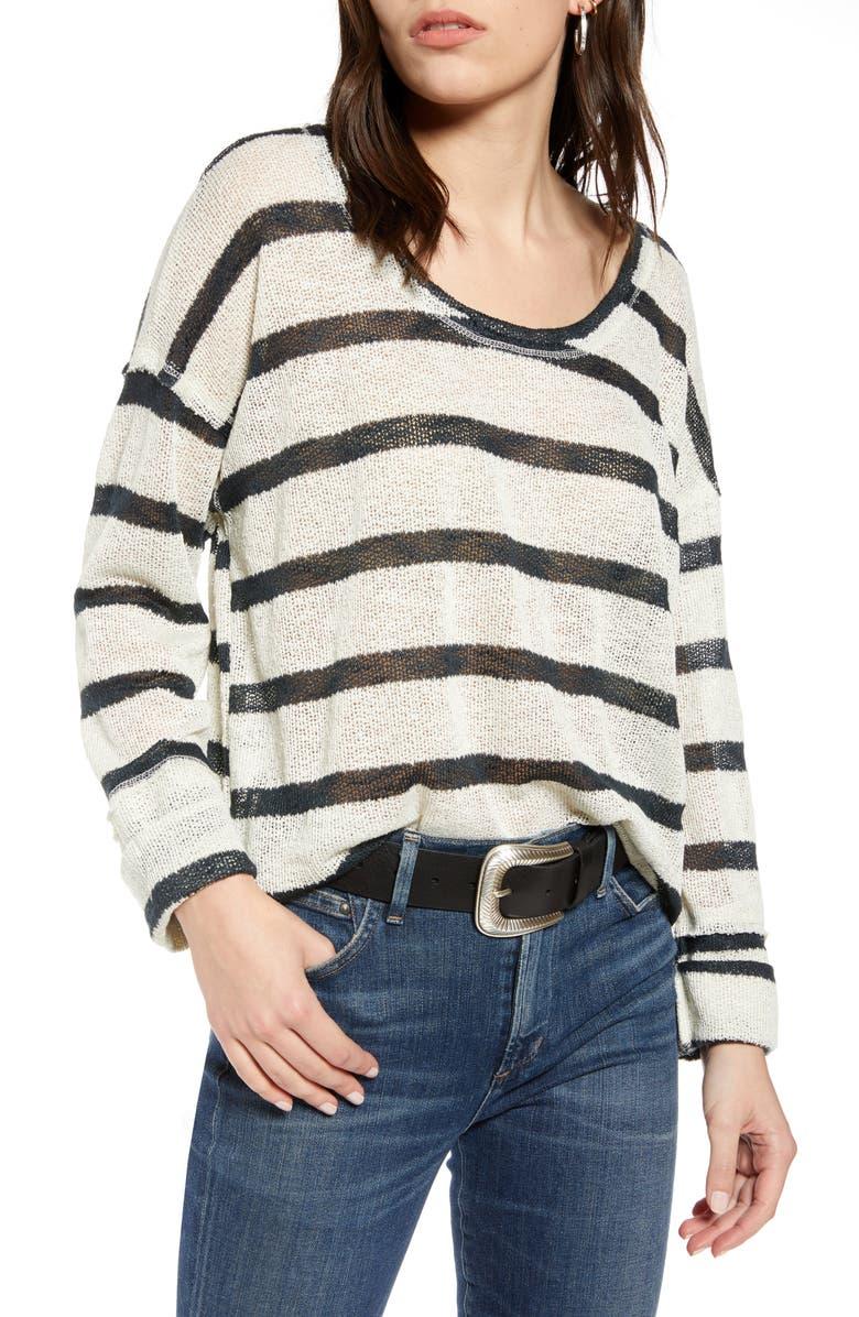TREASURE & BOND Lightweight Stripe Sweater, Main, color, IVORY- BLACK STRIPE
