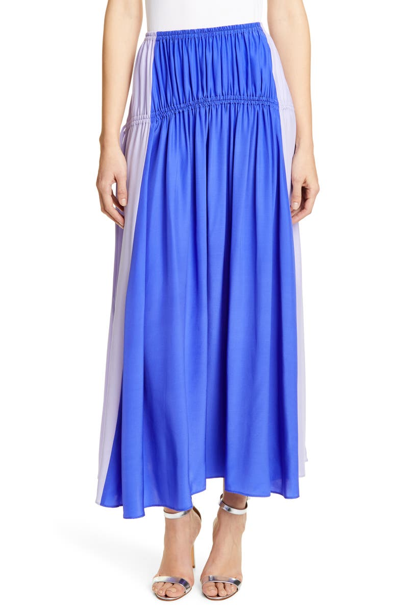 AMUR Tova Colorblock Silk Skirt, Main, color, 500