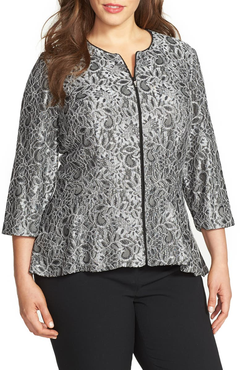 ALEX EVENINGS Collarless Metallic Lace Jacket, Main, color, 005