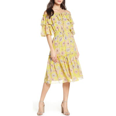Chelsea28 Floral Off The Shoulder Tiered Dress, Yellow