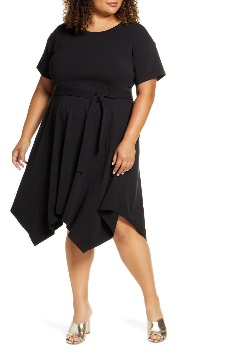ELOQUII Handkerchief Hem T-Shirt Dress, Main, color, 001