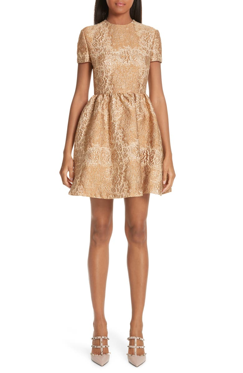 VALENTINO Floral Metallic Brocade Dress, Main, color, 710