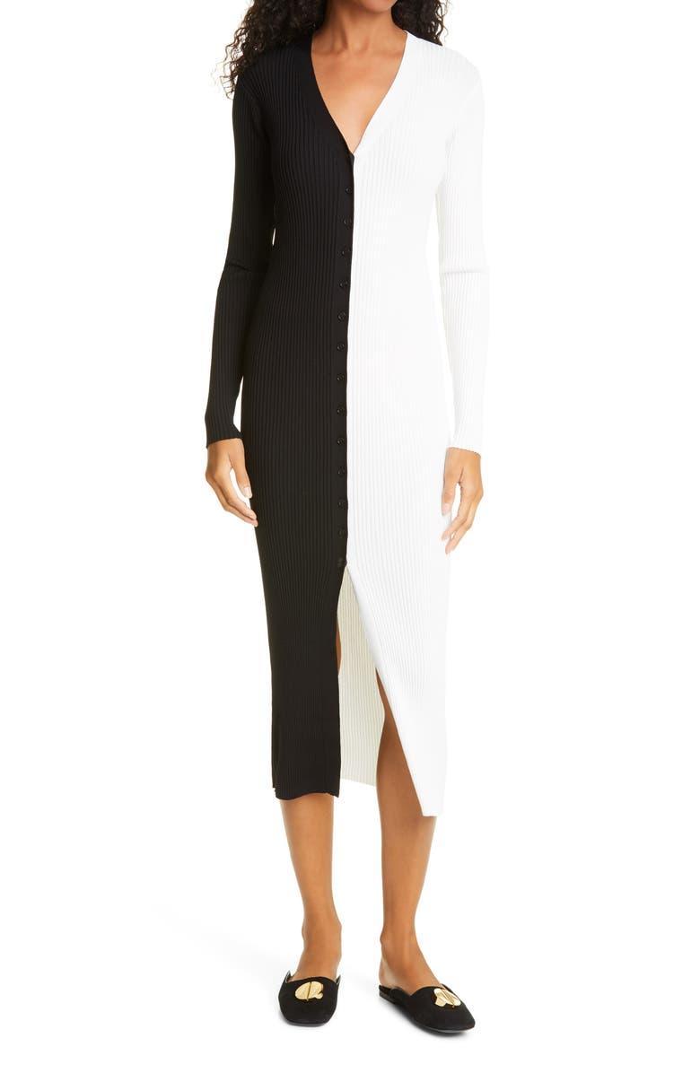 STAUD Shoko Colorblock Sweater, Main, color, BLACK/ WHITE